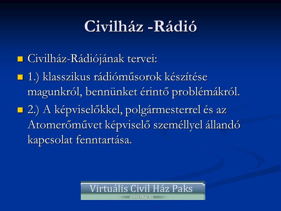 Civilház -Rádió  Civilház-Rádiójának tervei:  1.) klasszikus rádióműsorok készítése magunkról, bennünket érintő problémákról.  2.) A képviselőkkel,