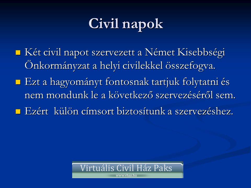 Civil napok  Két civil napot szervezett a Német Kisebbségi Önkormányzat a helyi civilekkel összefogva.  Ezt a hagyományt fontosnak tartjuk folytatni