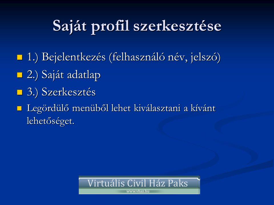 Saját profil szerkesztése  1.) Bejelentkezés (felhasználó név, jelszó)  2.) Saját adatlap  3.) Szerkesztés  Legördülő menüből lehet kiválasztani a