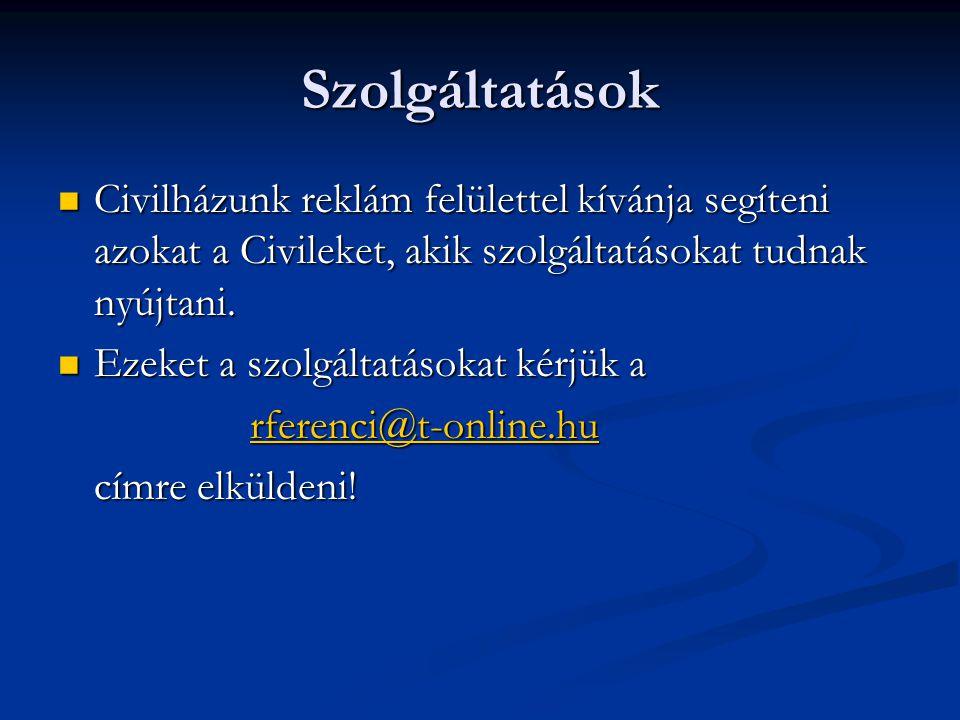 Szolgáltatások  Civilházunk reklám felülettel kívánja segíteni azokat a Civileket, akik szolgáltatásokat tudnak nyújtani.  Ezeket a szolgáltatásokat