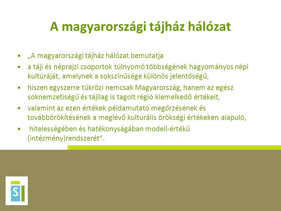 """A magyarországi tájház hálózat •""""A magyarországi tájház hálózat bemutatja •a táji és néprajzi csoportok túlnyomó többségének hagyományos népi kultúráj"""