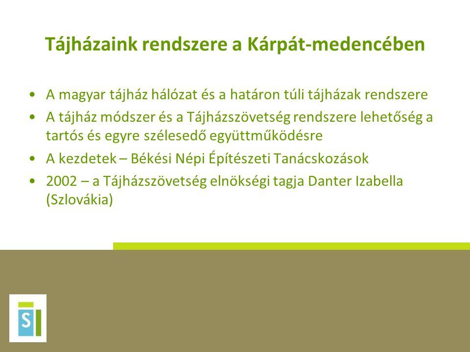 Tájházaink rendszere a Kárpát-medencében •A magyar tájház hálózat és a határon túli tájházak rendszere •A tájház módszer és a Tájházszövetség rendszer