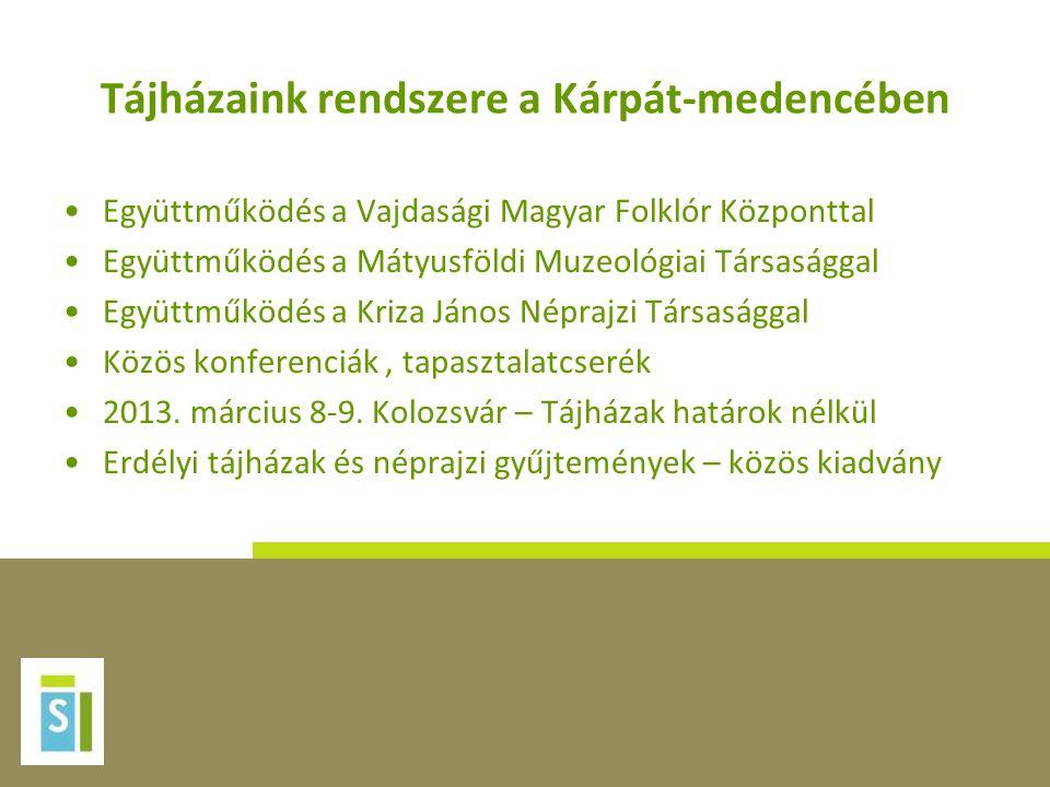 Tájházaink rendszere a Kárpát-medencében •Együttműködés a Vajdasági Magyar Folklór Központtal •Együttműködés a Mátyusföldi Muzeológiai Társasággal •Eg