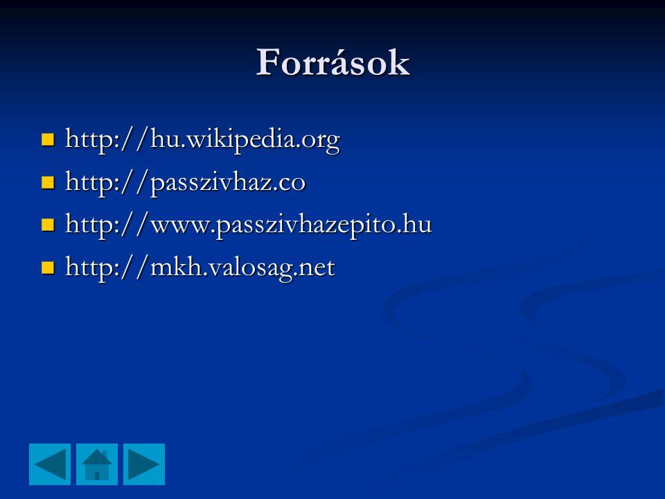 Források  http://hu.wikipedia.org  http://passzivhaz.co  http://www.passzivhazepito.hu  http://mkh.valosag.net