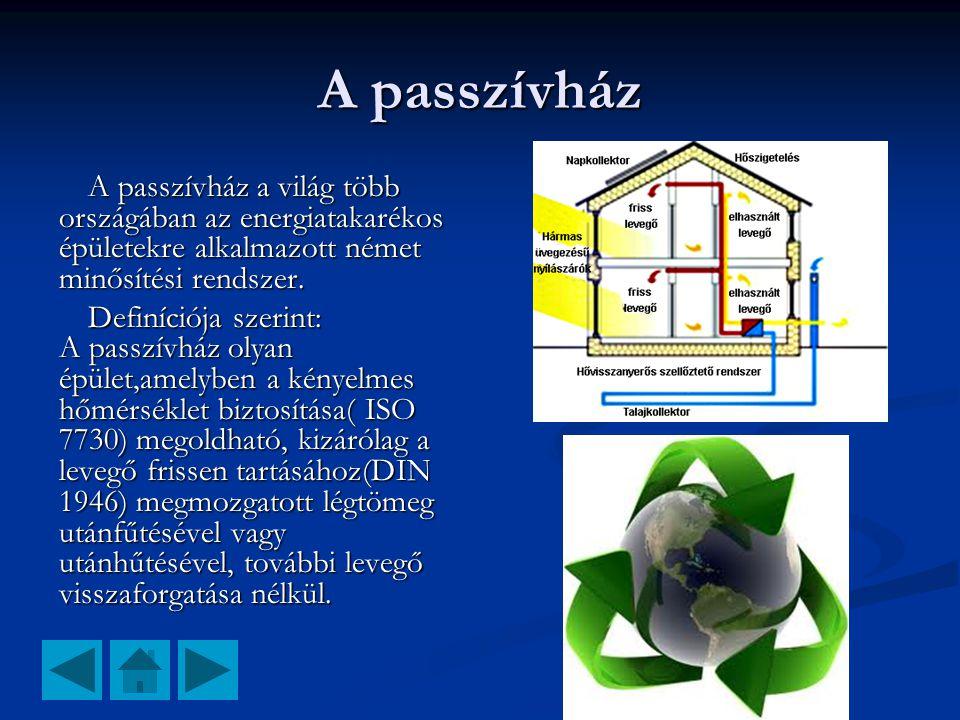 A passzívház A passzívház a világ több országában az energiatakarékos épületekre alkalmazott német minősítési rendszer. Definíciója szerint: A passzív