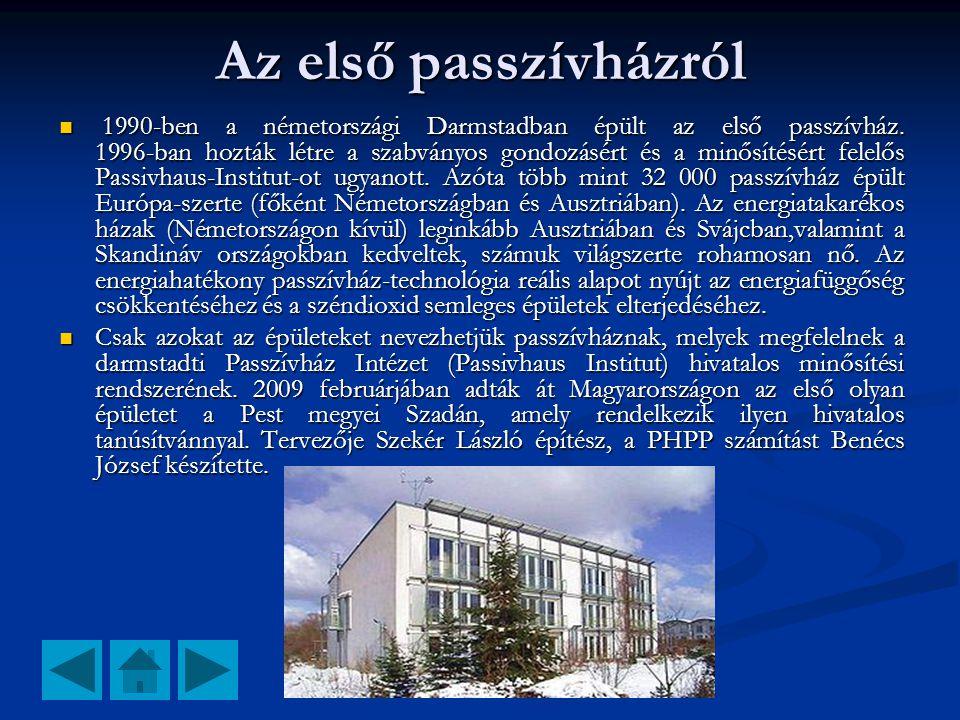 Az első passzívházról  1990-ben a németországi Darmstadban épült az első passzívház. 1996-ban hozták létre a szabványos gondozásért és a minősítésért