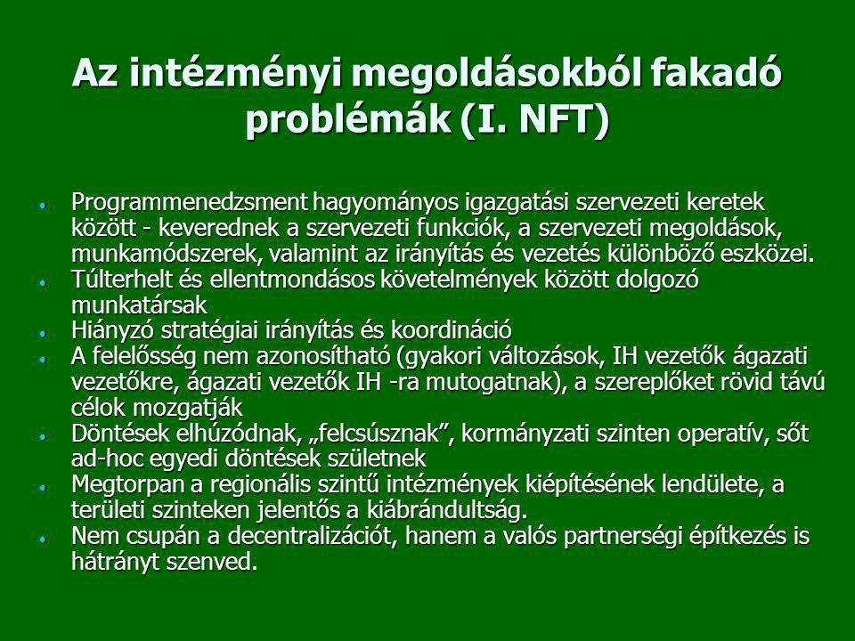 Az intézményi megoldásokból fakadó problémák (I. NFT) • Programmenedzsment hagyományos igazgatási szervezeti keretek között - keverednek a szervezeti