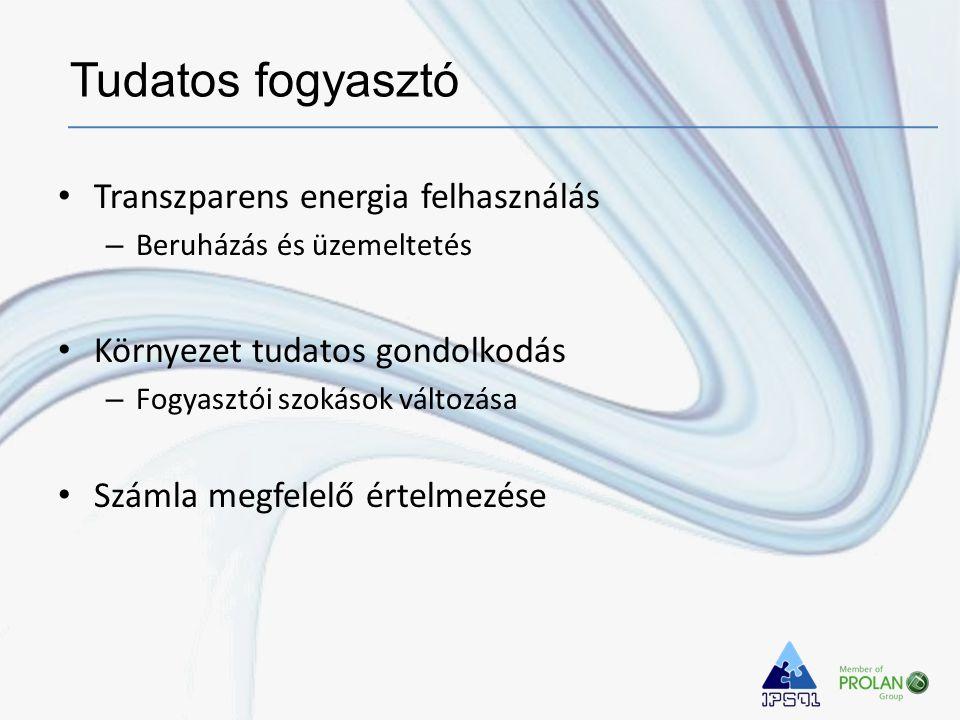 • Transzparens energia felhasználás – Beruházás és üzemeltetés • Környezet tudatos gondolkodás – Fogyasztói szokások változása • Számla megfelelő érte