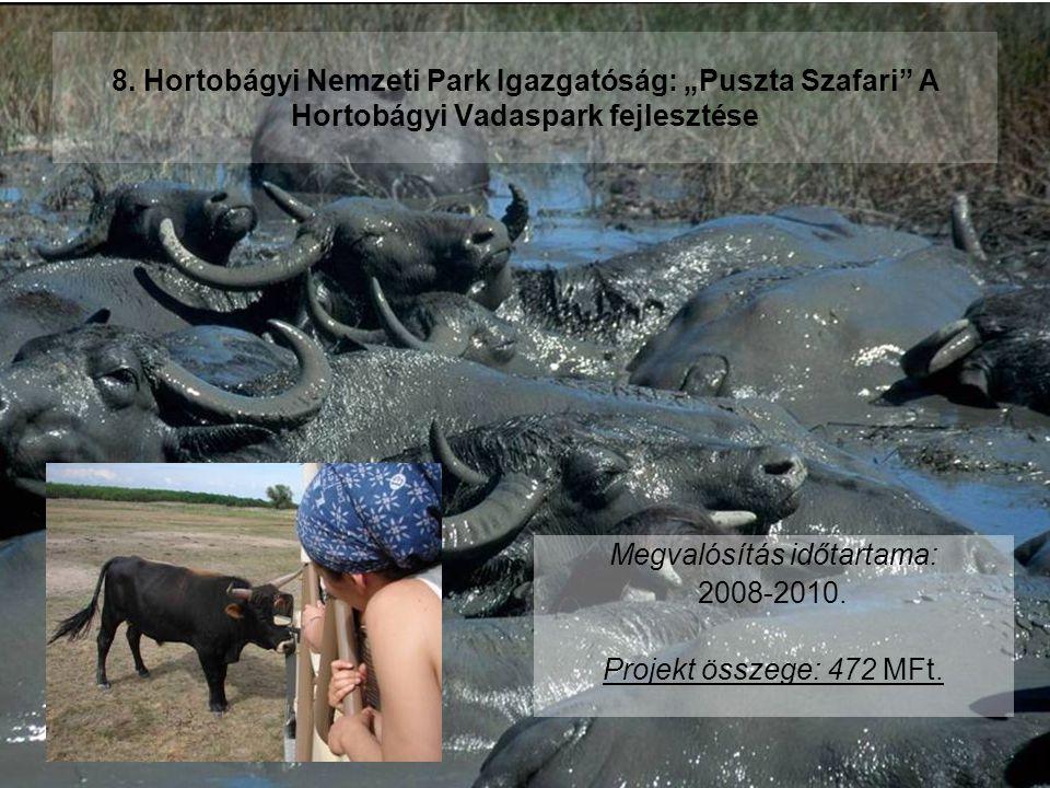 """8. Hortobágyi Nemzeti Park Igazgatóság: """"Puszta Szafari"""" A Hortobágyi Vadaspark fejlesztése Megvalósítás időtartama: 2008-2010. Projekt összege: 472 M"""