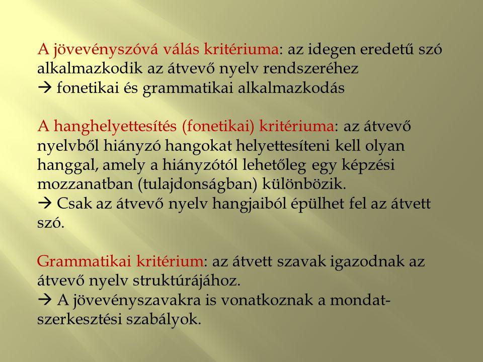 Grammatikai analógia : A jövevényszavak beilleszkedésükkor az adott kor nyelvállapotának alaktani szabályait követik.