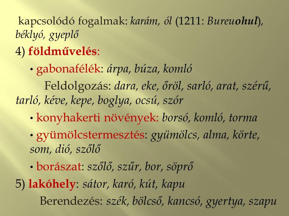 6) öltözködés : ölt, illik, saru, süveg, csat, ködmön, köpönyeg, bársony, gyöngy, gyűrű, kép, tükör; kender  tiló, orsó, gyűszű, csepű 7) mesterségek : szűcs, ács, szatócs, tolmács Kapcsolódó fogalmak: csavar, gyárt, gyúr, teker, tűr 'összehajt', balta.