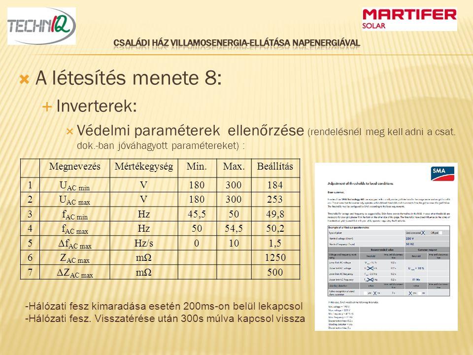 A létesítés menete 8:  Inverterek:  Védelmi paraméterek ellenőrzése (rendelésnél meg kell adni a csat. dok.-ban jóváhagyott paramétereket) : Megne