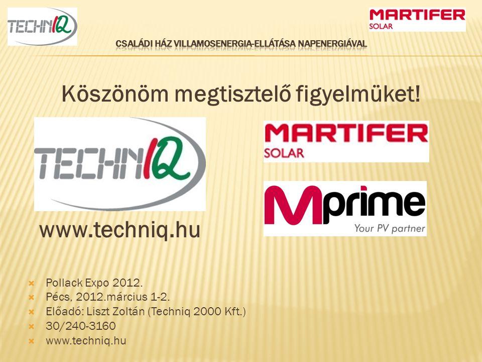 Köszönöm megtisztelő figyelmüket!  Pollack Expo 2012.  Pécs, 2012.március 1-2.  Előadó: Liszt Zoltán (Techniq 2000 Kft.)  30/240-3160  www.techni