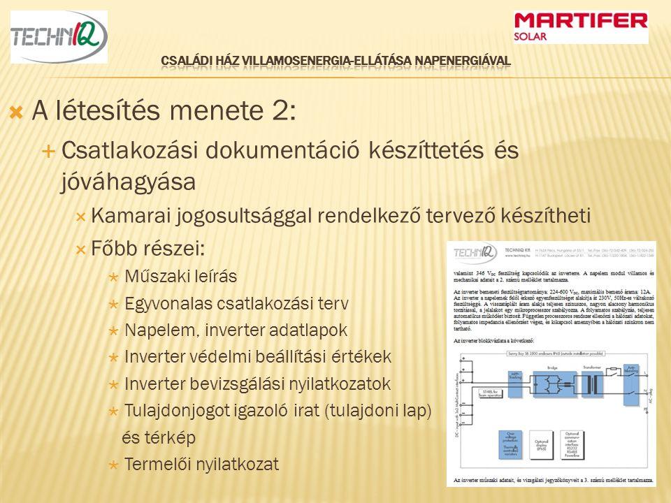  A létesítés menete 2:  Csatlakozási dokumentáció készíttetés és jóváhagyása  Kamarai jogosultsággal rendelkező tervező készítheti  Főbb részei: 