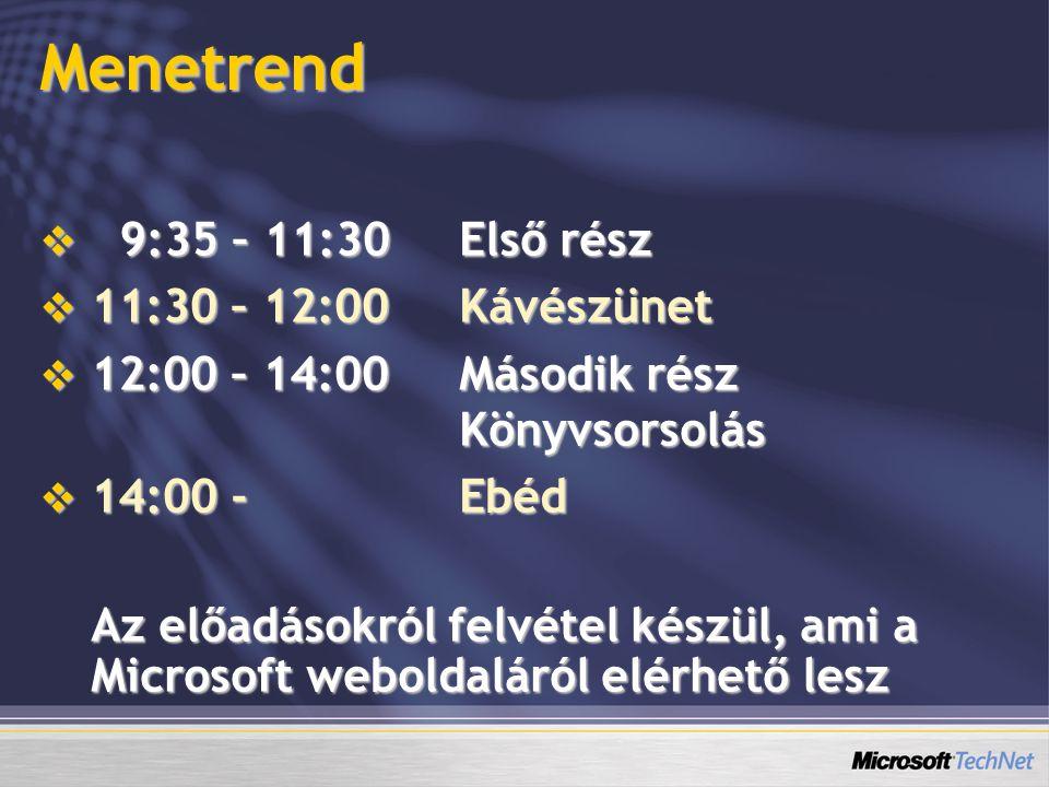 Menetrend  9:35 – 11:30Első rész  11:30 – 12:00Kávészünet  12:00 – 14:00Második rész Könyvsorsolás  14:00 - Ebéd Az előadásokról felvétel készül, ami a Microsoft weboldaláról elérhető lesz