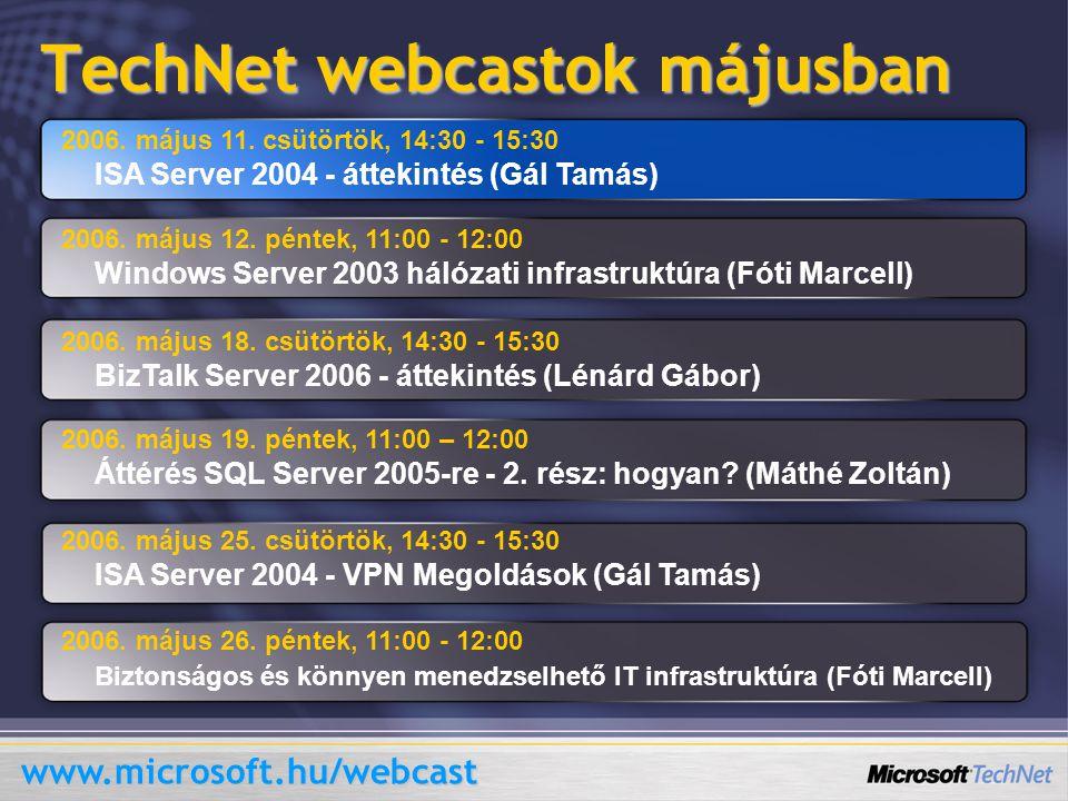 TechNet webcastok májusban 2006. május 11.