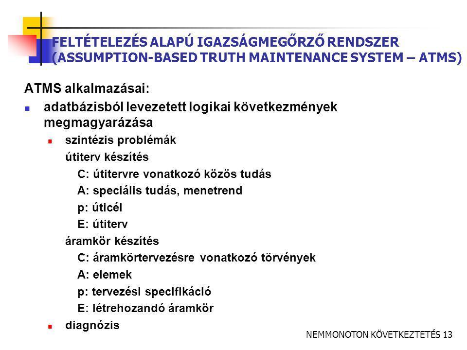 NEMMONOTON KÖVETKEZTETÉS 13 FELTÉTELEZÉS ALAPÚ IGAZSÁGMEGŐRZŐ RENDSZER (ASSUMPTION-BASED TRUTH MAINTENANCE SYSTEM – ATMS) ATMS alkalmazásai:  adatbázisból levezetett logikai következmények megmagyarázása  szintézis problémák útiterv készítés C: útitervre vonatkozó közös tudás A: speciális tudás, menetrend p: úticél E: útiterv áramkör készítés C: áramkörtervezésre vonatkozó törvények A: elemek p: tervezési specifikáció E: létrehozandó áramkör  diagnózis