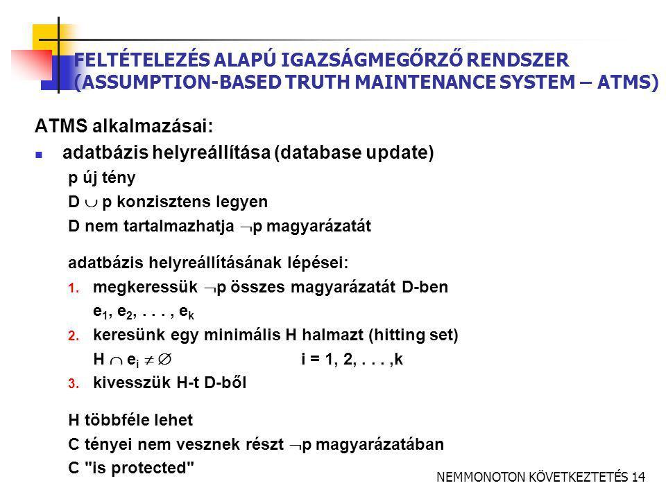 NEMMONOTON KÖVETKEZTETÉS 14 FELTÉTELEZÉS ALAPÚ IGAZSÁGMEGŐRZŐ RENDSZER (ASSUMPTION-BASED TRUTH MAINTENANCE SYSTEM – ATMS) ATMS alkalmazásai:  adatbázis helyreállítása (database update) p új tény D  p konzisztens legyen D nem tartalmazhatja  p magyarázatát adatbázis helyreállításának lépései: 1.