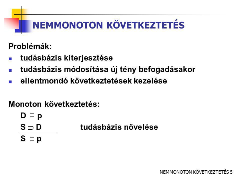 NEMMONOTON KÖVETKEZTETÉS 6 KITERJESZTÉS (EXTENSION) D = Th  A biztos és bizonytalan szétválasztása Th: tételek, igaz mondatok A: feltételezések – igazságértéke változhat (Th, A) nemmonoton elmélet Def: (Th, A) kiterjesztése E E  A E maximális E  Th konzisztens legtöbb, amit ellentmondás nélkül állíthatunk – a dolgok lehetnek így is