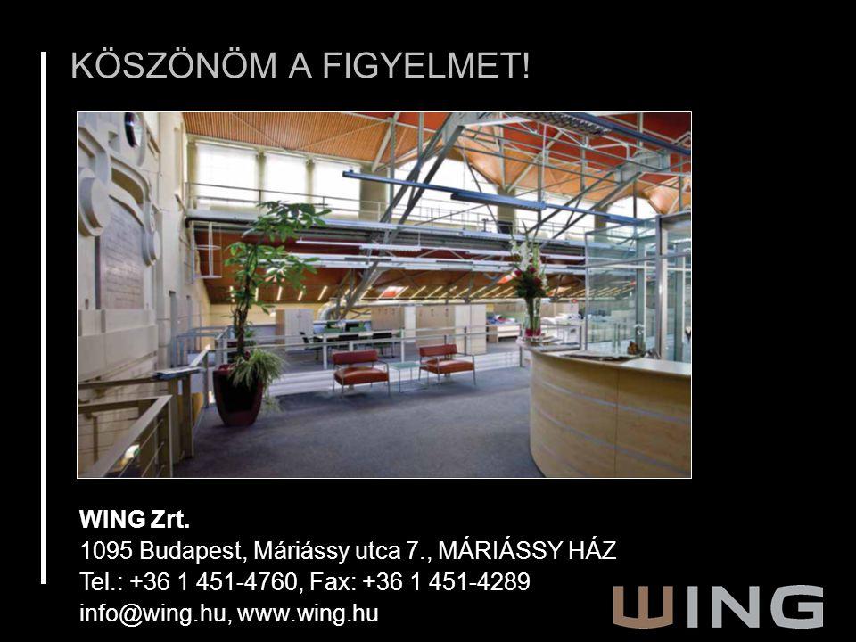 WING Zrt. 1095 Budapest, Máriássy utca 7., MÁRIÁSSY HÁZ Tel.: +36 1 451-4760, Fax: +36 1 451-4289 info@wing.hu, www.wing.hu KÖSZÖNÖM A FIGYELMET!