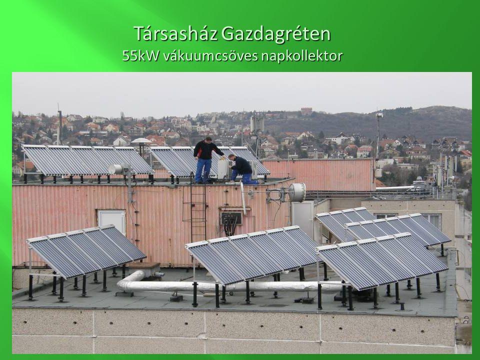 Társasház Gazdagréten 55kW vákuumcsöves napkollektor