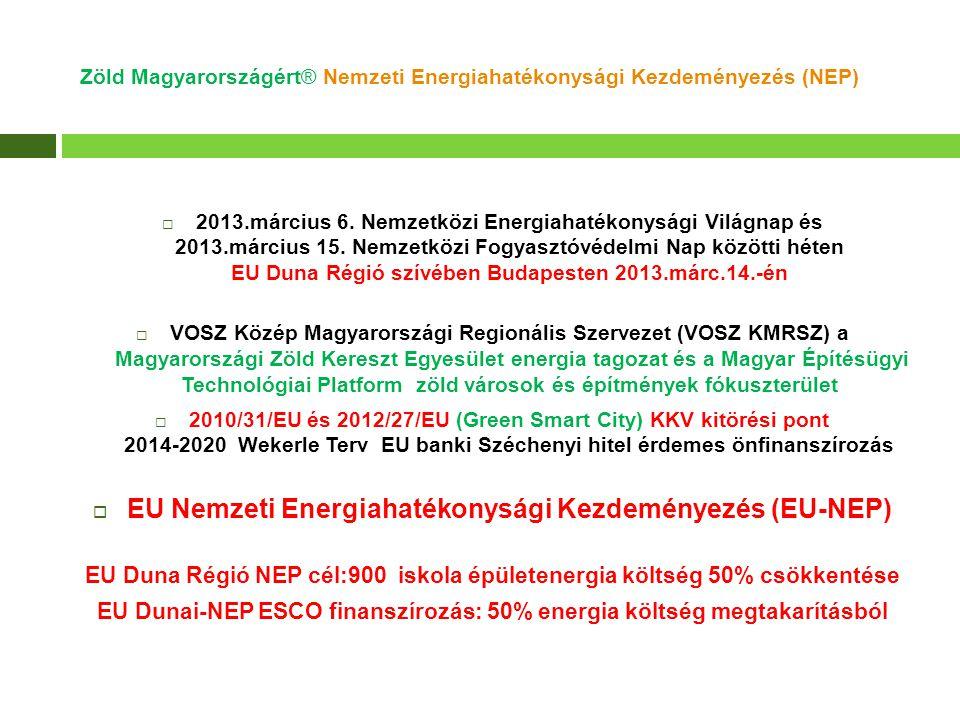 Zöld Magyarországért® Nemzeti Energiahatékonysági Kezdeményezés (NEP)  2013.március 6. Nemzetközi Energiahatékonysági Világnap és 2013.március 15. Ne