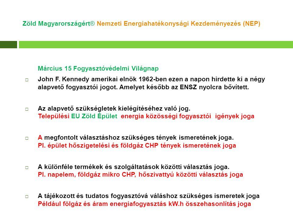 Zöld Magyarországért® Nemzeti Energiahatékonysági Kezdeményezés (NEP) Március 15 Fogyasztóvédelmi Világnap  John F. Kennedy amerikai elnök 1962-ben e