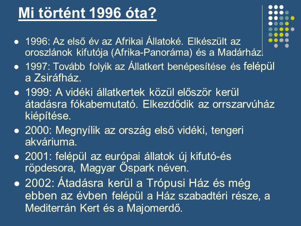  1996: Az első év az Afrikai Állatoké. Elkészült az oroszlánok kifutója (Afrika-Panoráma) és a Madárház.  1997: Tovább folyik az Állatkert benépesít