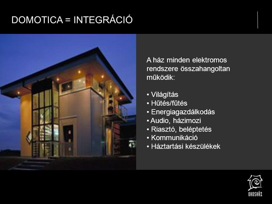 DOMOTICA = INTEGRÁCIÓ A ház minden elektromos rendszere összahangoltan működik: • Világítás • Hűtés/fűtés • Energiagazdálkodás • Audio, házimozi • Riasztó, beléptetés • Kommunikáció • Háztartási készülékek
