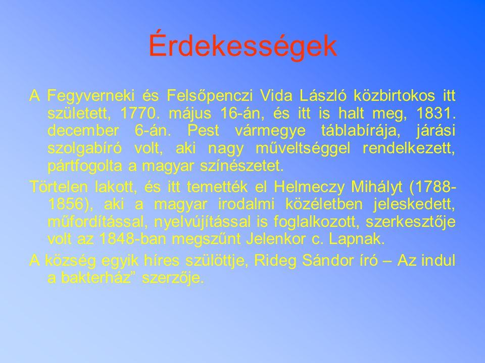 Érdekességek A Fegyverneki és Felsőpenczi Vida László közbirtokos itt született, 1770. május 16-án, és itt is halt meg, 1831. december 6-án. Pest várm
