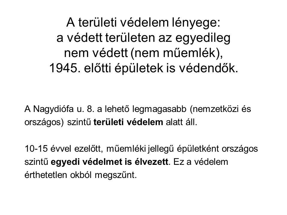 A területi védelem lényege: a védett területen az egyedileg nem védett (nem műemlék), 1945.