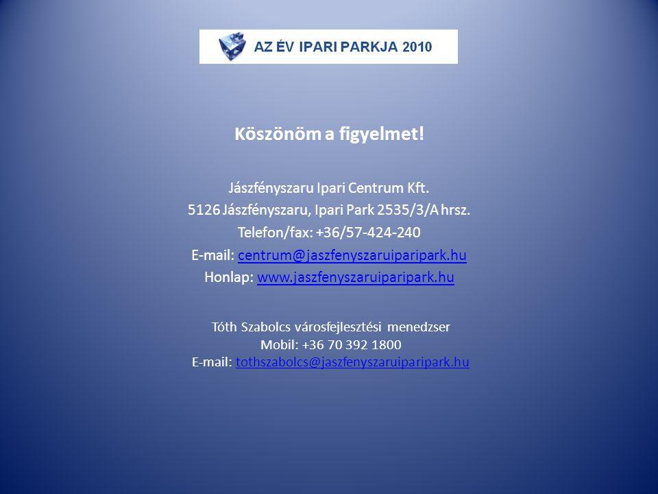 Köszönöm a figyelmet! Jászfényszaru Ipari Centrum Kft. 5126 Jászfényszaru, Ipari Park 2535/3/A hrsz. Telefon/fax: +36/57-424-240 E-mail: centrum@jaszf