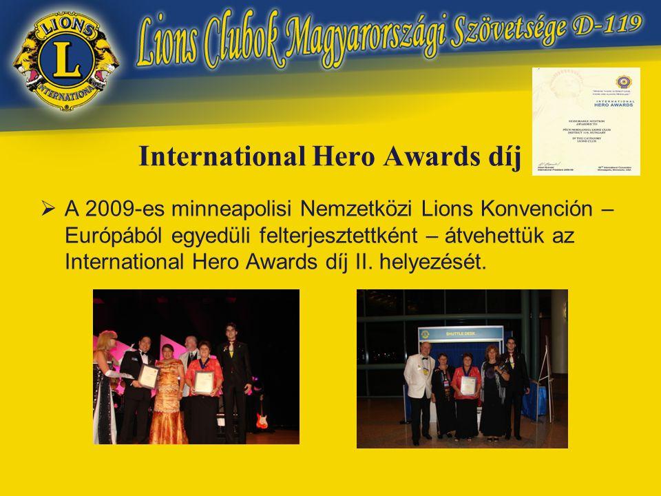 International Hero Awards díj  A 2009-es minneapolisi Nemzetközi Lions Konvención – Európából egyedüli felterjesztettként – átvehettük az International Hero Awards díj II.