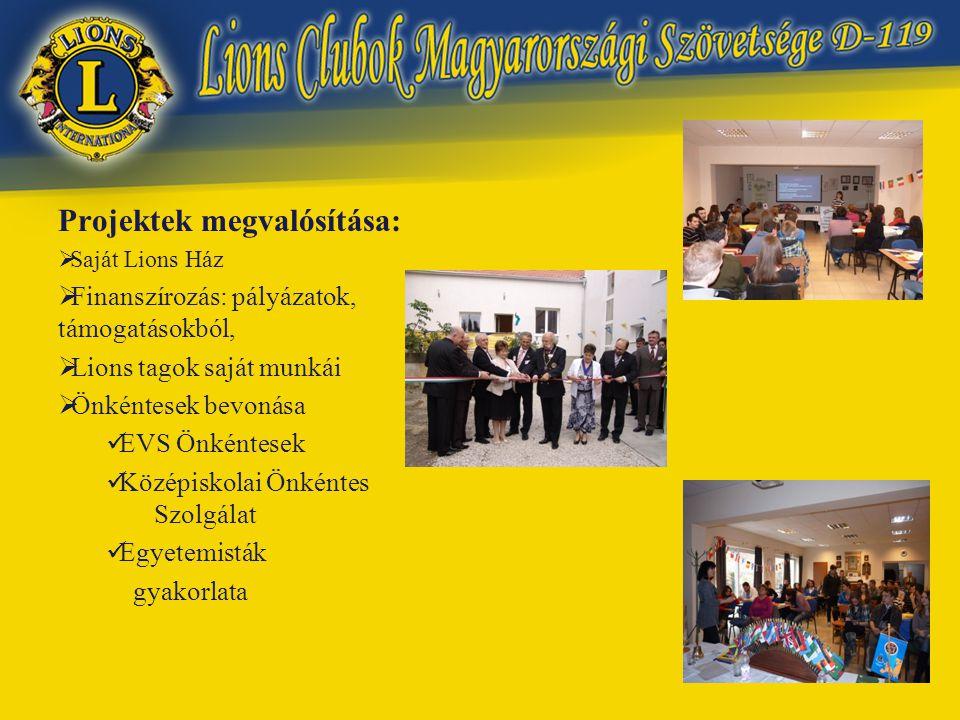 Projektek megvalósítása:  Saját Lions Ház  Finanszírozás: pályázatok, támogatásokból,  Lions tagok saját munkái  Önkéntesek bevonása  EVS Önkéntesek  Középiskolai Önkéntes Szolgálat  Egyetemisták gyakorlata