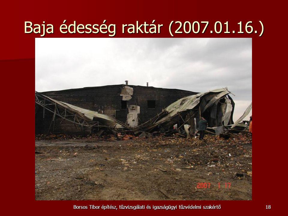 Borsos Tibor építész, tűzvizsgálati és igazságügyi tűzvédelmi szakértő Baja édesség raktár (2007.01.16.) 18