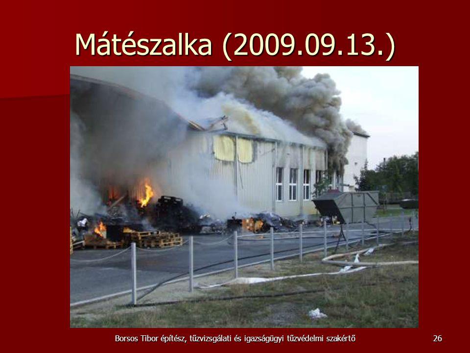 Mátészalka (2009.09.13.) Borsos Tibor építész, tűzvizsgálati és igazságügyi tűzvédelmi szakértő26