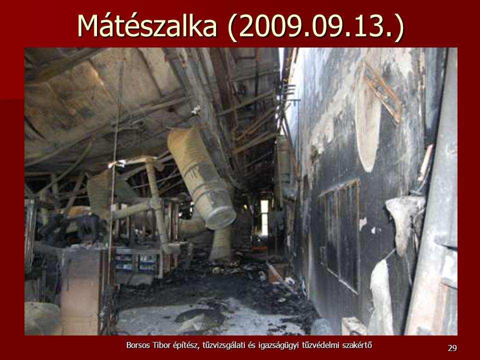 Mátészalka (2009.09.13.) Borsos Tibor építész, tűzvizsgálati és igazságügyi tűzvédelmi szakértő 29