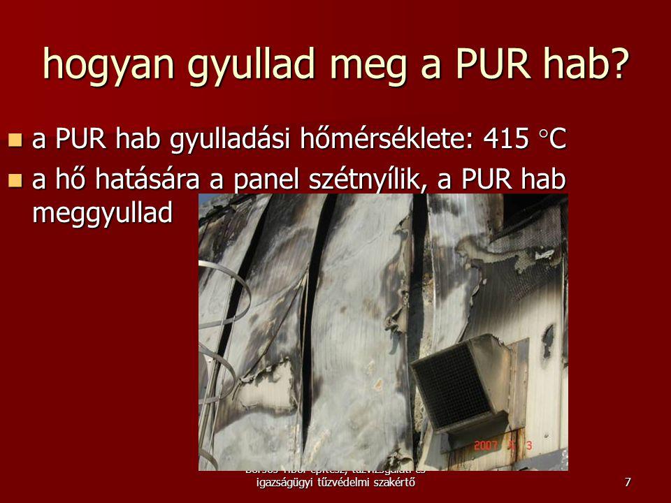 Borsos Tibor építész, tűzvizsgálati és igazságügyi tűzvédelmi szakértő hogyan gyullad meg a PUR hab?  a PUR hab gyulladási hőmérséklete: 415 ° C  a
