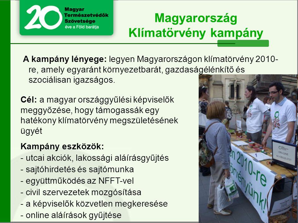 A kampány lényege: legyen Magyarországon klímatörvény 2010- re, amely egyaránt környezetbarát, gazdaságélénkítő és szociálisan igazságos.