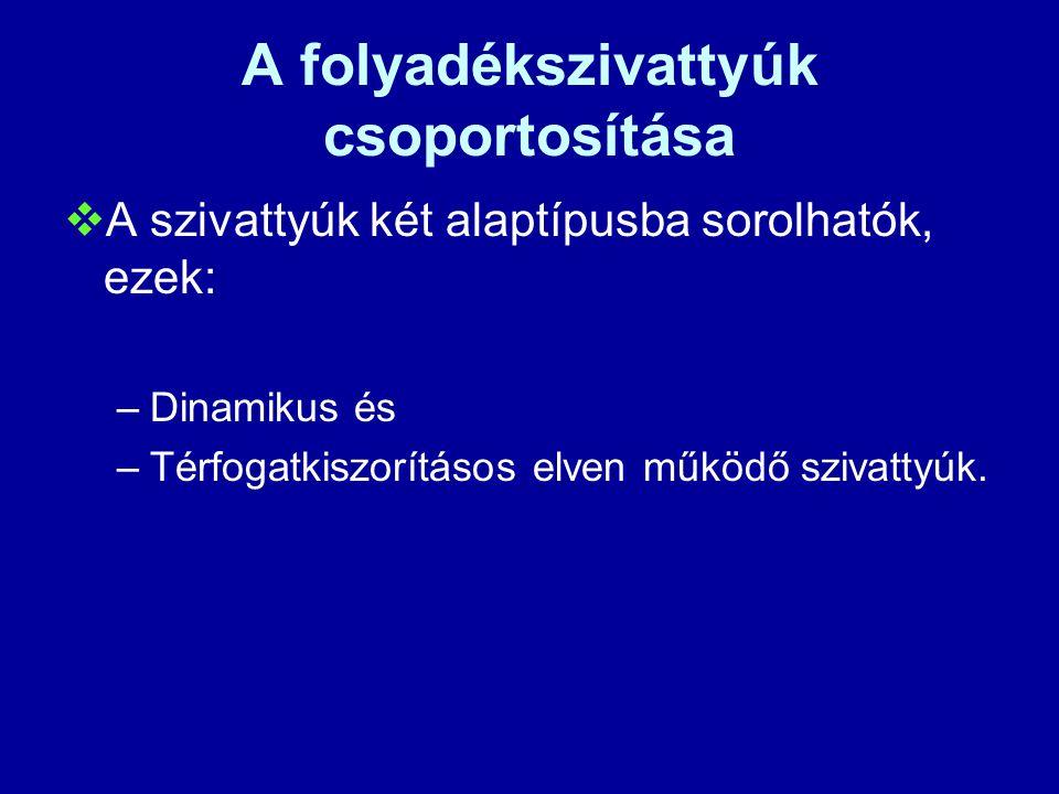 A folyadékszivattyúk csoportosítása  A szivattyúk két alaptípusba sorolhatók, ezek: –Dinamikus és –Térfogatkiszorításos elven működő szivattyúk.