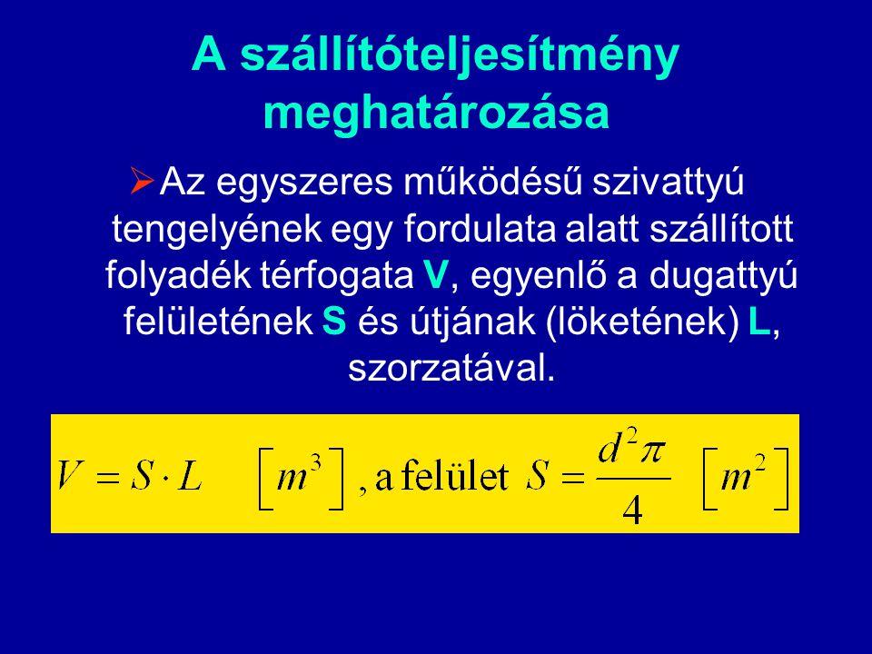  Ha a képletbe bevezetjük a fordulatszámot, amelynek nagyságától függ a dugattyú mozgása a hengerben, kifejezhetjük a szivattyú elméleti szállítótelyesítményét: n – a fordulatszám