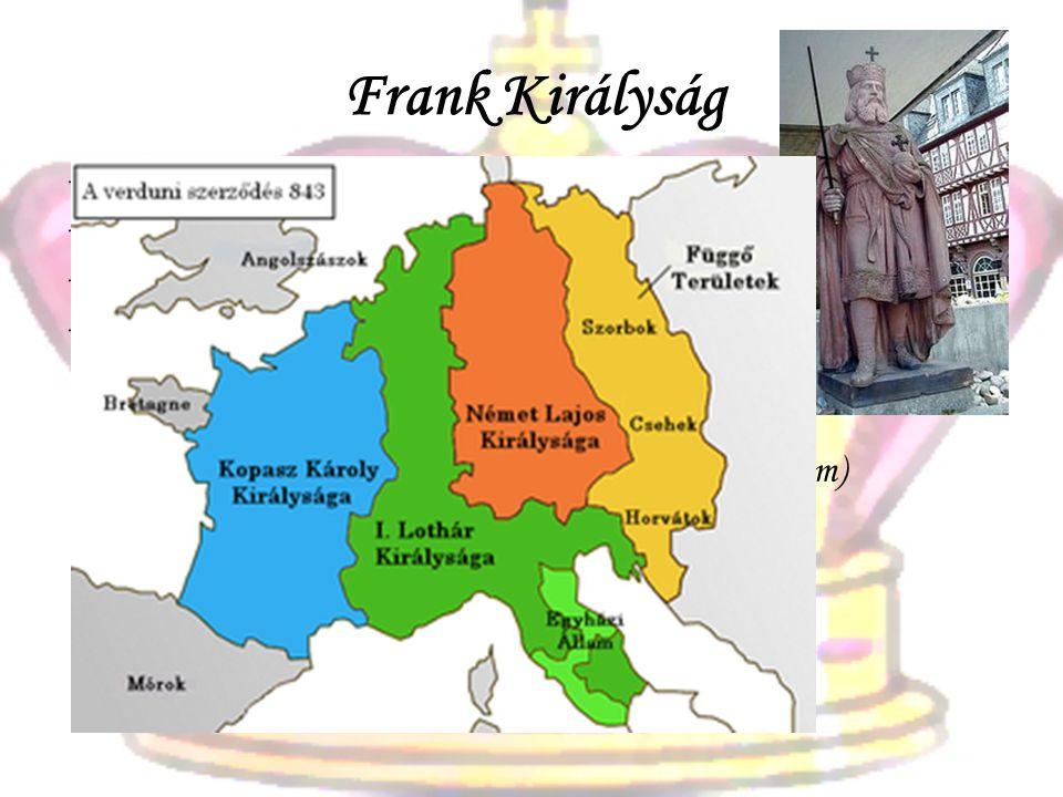 Frank Királyság -Klodvig (497) és utódai a Merovingok -Kis Pippin és a Karolingok -Nagy Károly (800-ban császár lesz) -843. verduni szerződés Kopasz K
