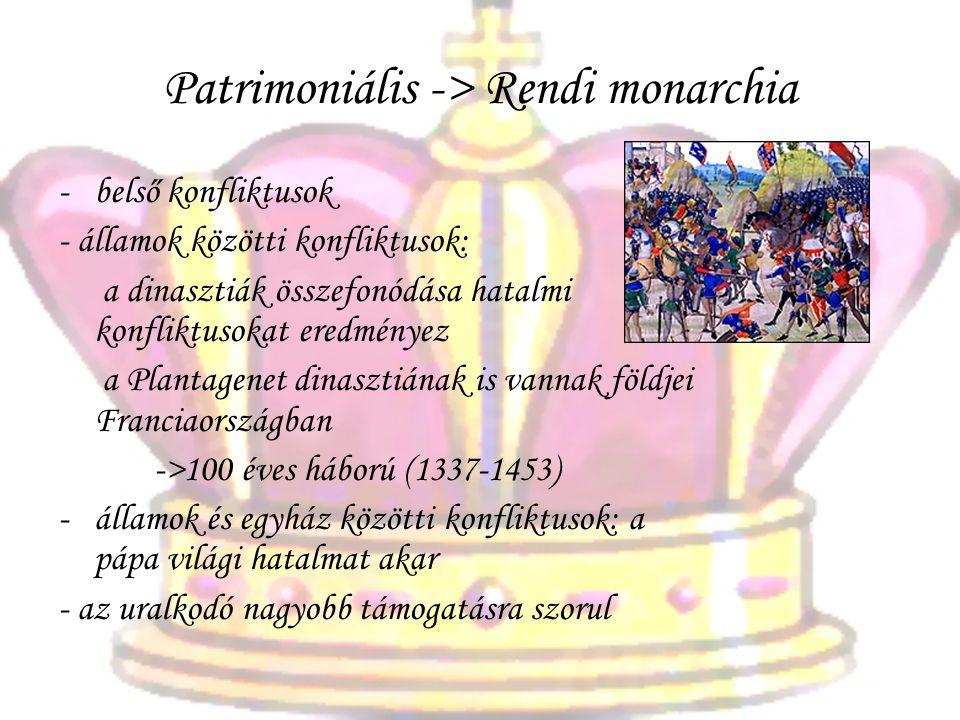 Patrimoniális -> Rendi monarchia -belső konfliktusok - államok közötti konfliktusok: a dinasztiák összefonódása hatalmi konfliktusokat eredményez a Pl