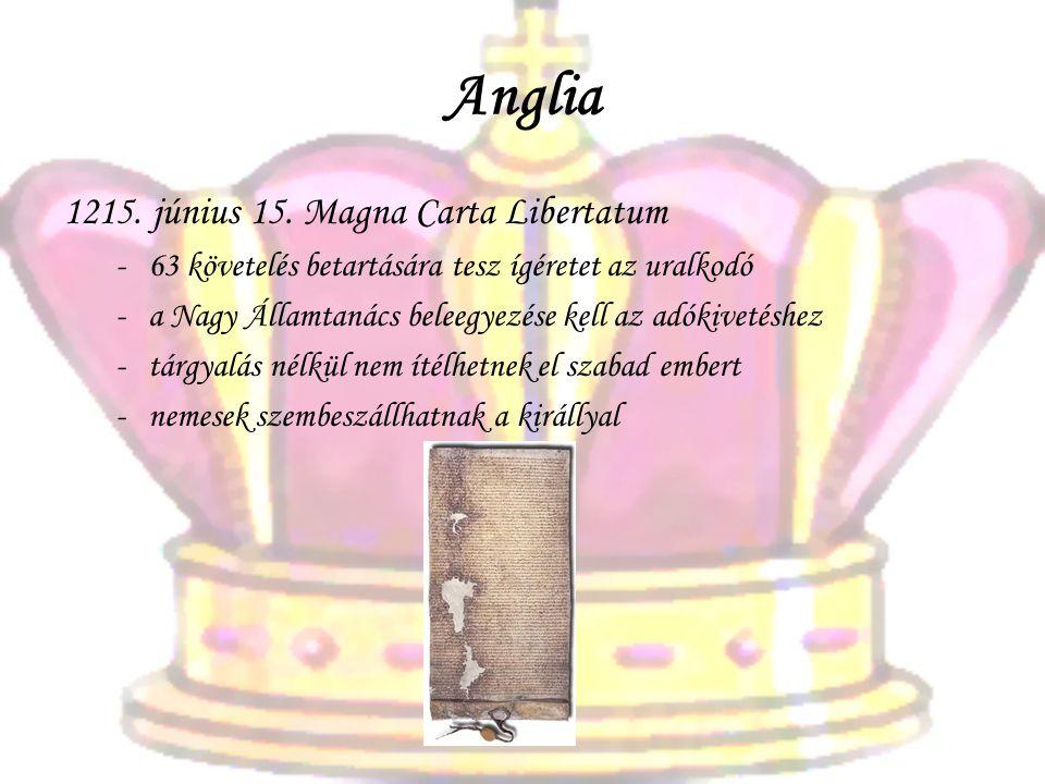 Anglia 1215. június 15. Magna Carta Libertatum -63 követelés betartására tesz ígéretet az uralkodó -a Nagy Államtanács beleegyezése kell az adókivetés