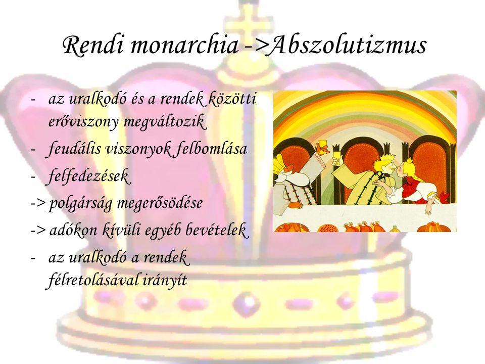Rendi monarchia ->Abszolutizmus -az uralkodó és a rendek közötti erőviszony megváltozik -feudális viszonyok felbomlása -felfedezések -> polgárság mege