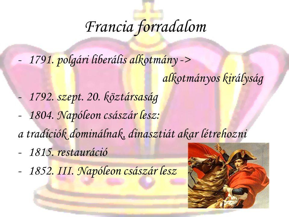 Francia forradalom -1791. polgári liberális alkotmány -> alkotmányos királyság -1792. szept. 20. köztársaság -1804. Napóleon császár lesz: a tradíciók