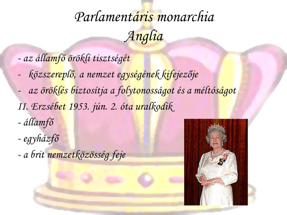 Parlamentáris monarchia Anglia - az államfő örökli tisztségét -k-közszereplő, a nemzet egységének kifejezője -a-az öröklés biztosítja a folytonosságot