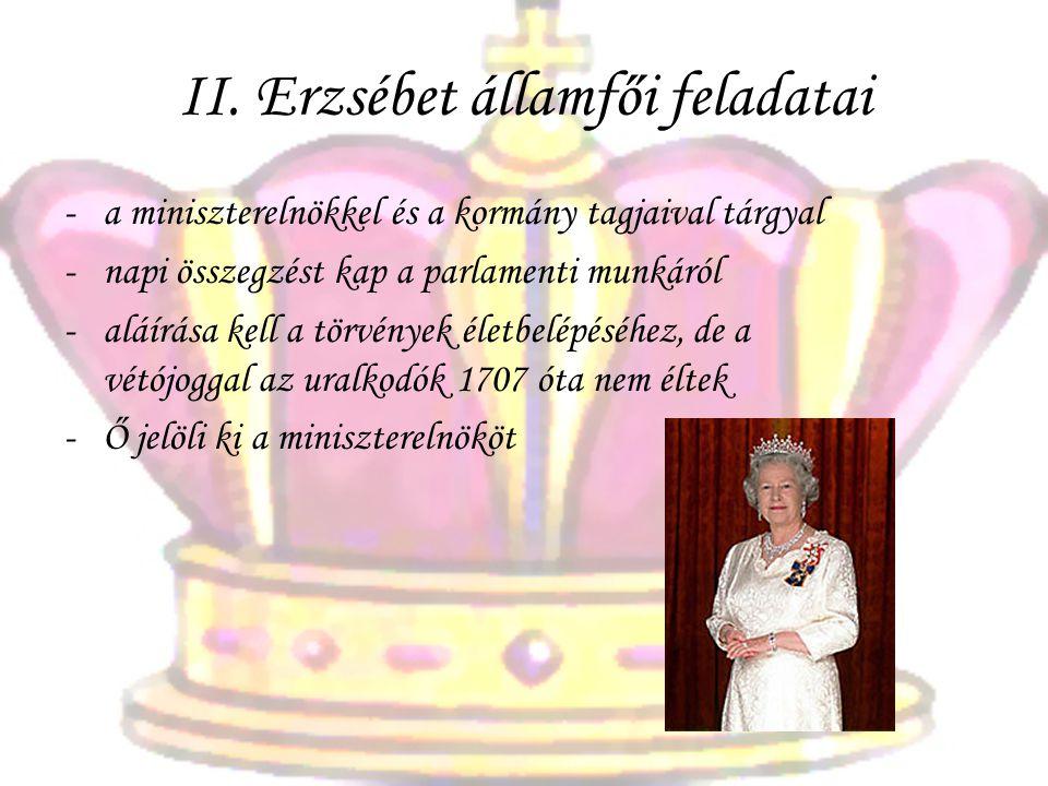 II. Erzsébet államfői feladatai -a-a miniszterelnökkel és a kormány tagjaival tárgyal -n-napi összegzést kap a parlamenti munkáról -a-aláírása kell a