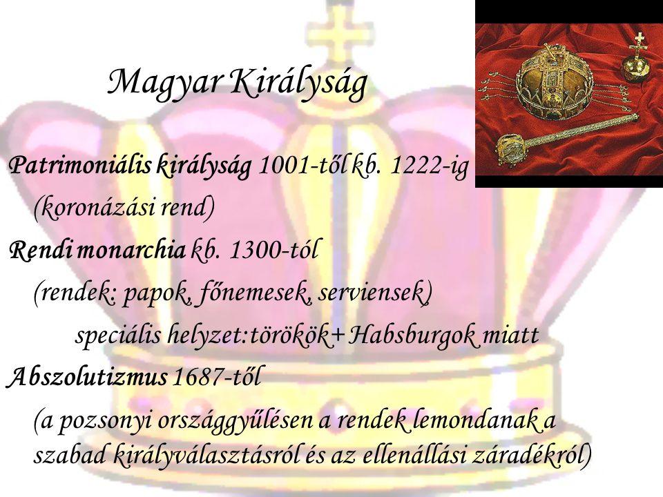 Magyar Királyság Patrimoniális királyság 1001-től kb. 1222-ig (koronázási rend) Rendi monarchia kb. 1300-tól (rendek: papok, főnemesek, serviensek) sp