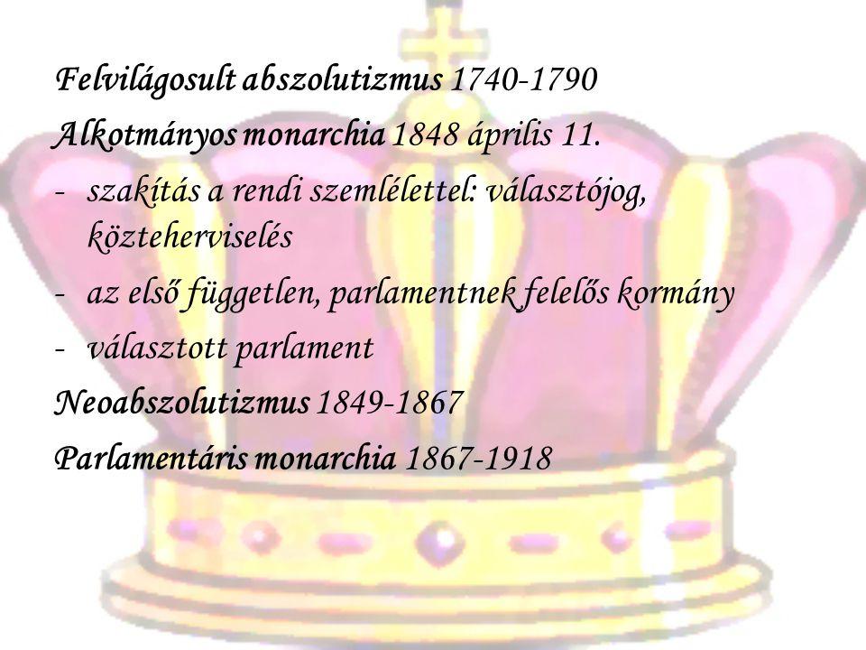 Felvilágosult abszolutizmus 1740-1790 Alkotmányos monarchia 1848 április 11. -s-szakítás a rendi szemlélettel: választójog, közteherviselés -a-az első